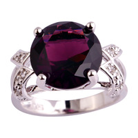 Free Shipping Fashion Wedding Jewelry Purple Amethyst 925 Silver Ring Size 6 7 8 9 10 11 12 13 For Women Wholesale