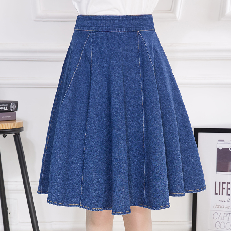New Arrival Pockets Jeans Pleated Skirts Women Fashion A-line High Waist Knee-Length Denim Skirts for Girls Plus Size S to 5XL