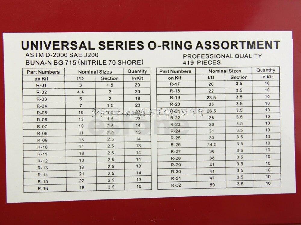 Useful 419Pcs Assorted O Ring Rubber Seal Assortment Set Kit Garage Plumbing