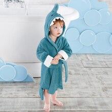 Детский банный халат синего цвета с изображением акулы, кролика, бегемота, пляжное полотенце с капюшоном для малышей, пончо для детей 2-3 лет, размер M
