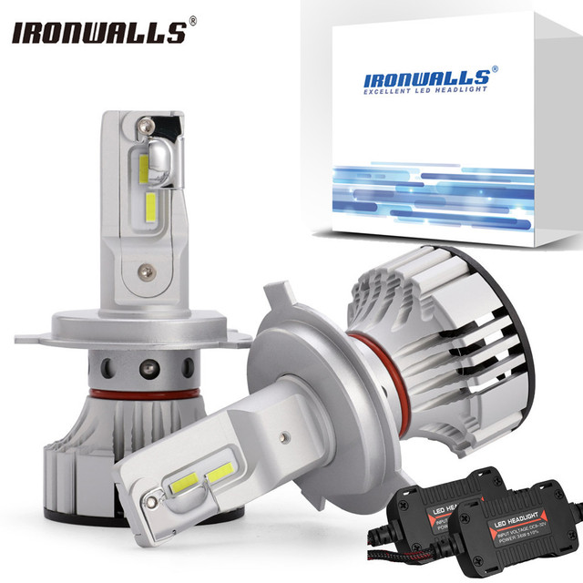 Ironwalls 72W H4 H7 H11 9005 9006 Led Headlight Bulb Hi Lo Beam Car Light 6000LM 6500K Auto Headlamp Fog Lights 12v 24v