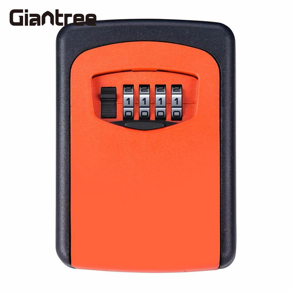Giantree 4 Digit Password Storage Case Safe Box Key Lock Box  Premium Durable Alloy Orange Wall Mounted Jewelry Security Box