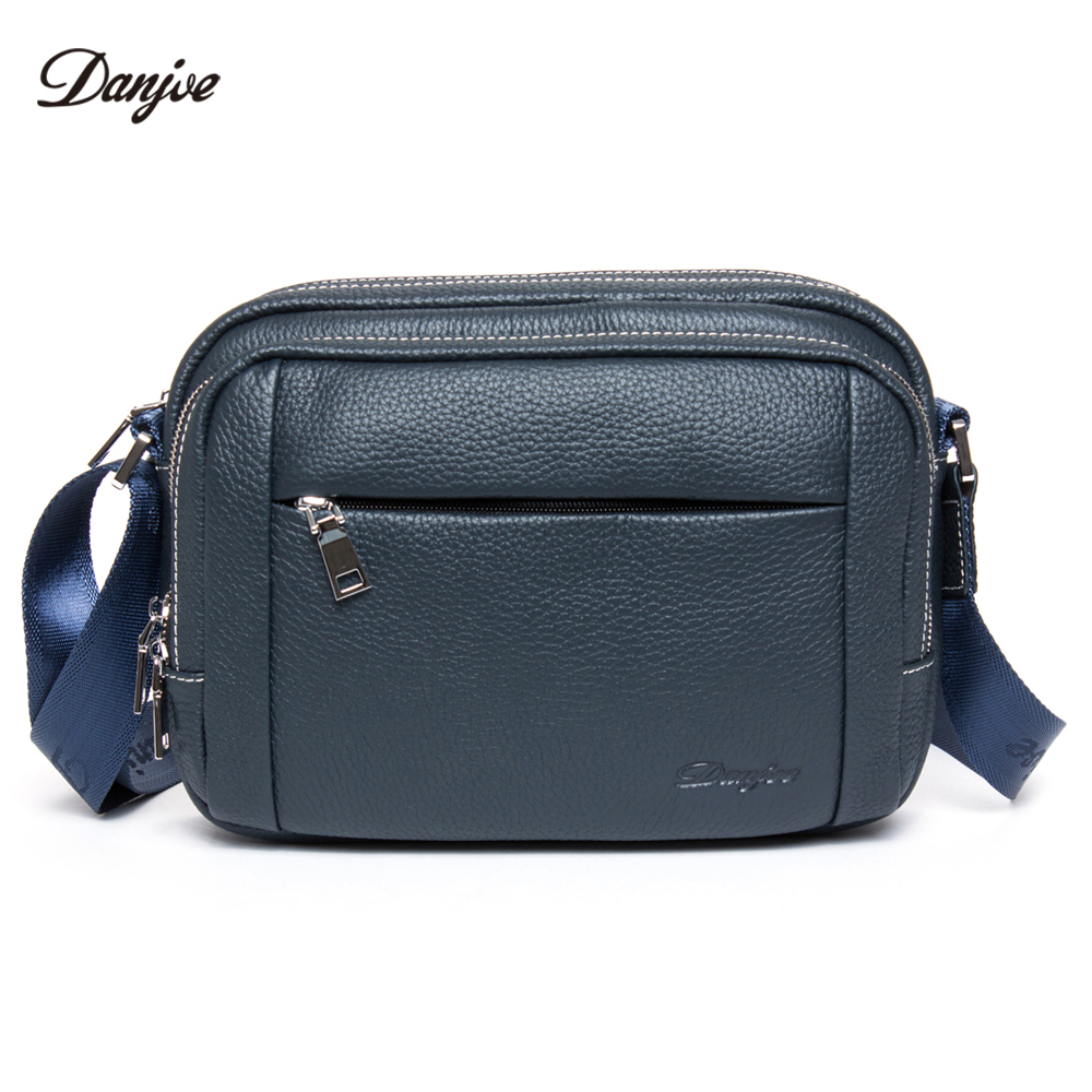 DANJUE Genuine Leather Mini Bag Men Classic Brand Messenger Bag Male Real Cowskin Daily Shoulder Bag Male Small Man Bag Trendy