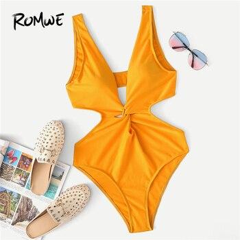 Romwe спортивный оранжевый цельный срезанный скрученный цельный купальник женский сексуальный Летний Пляжный глубокий v-образный вырез без п...