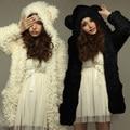 ZANZEA Осень Зима Теплая Женщины Толстовки Пальто Мода Милые Дамы Плюшевый Медведь Уши Верхняя Одежда Длинный Кардиган С Капюшоном Плюс Размер