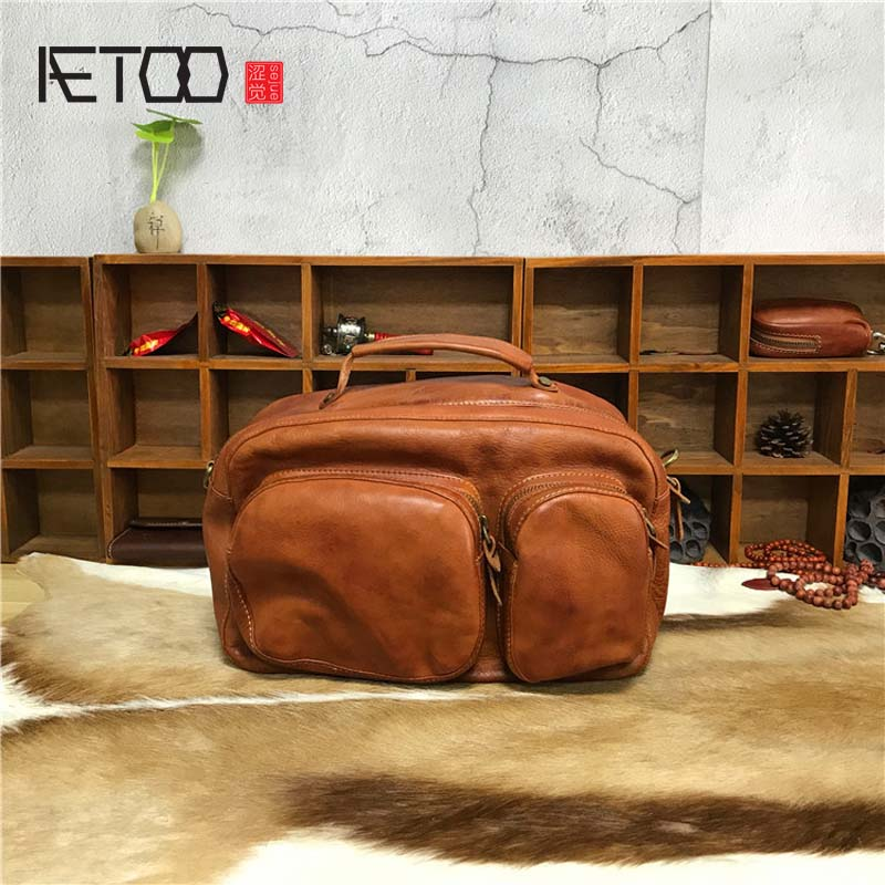 AETOO  New Italian Irregular Leather Handbag Balm Skin Retro Bag