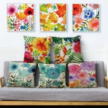 Cushion-Cover Pillow-Case Tropical-Plant Green Sofa Flower Linen Printed Home-Decoration