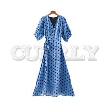 CUERLY 2019 women dots print wrap dress Cross V neck lantern sleeve sashes retro female casual midi dresses chic A line vestidos