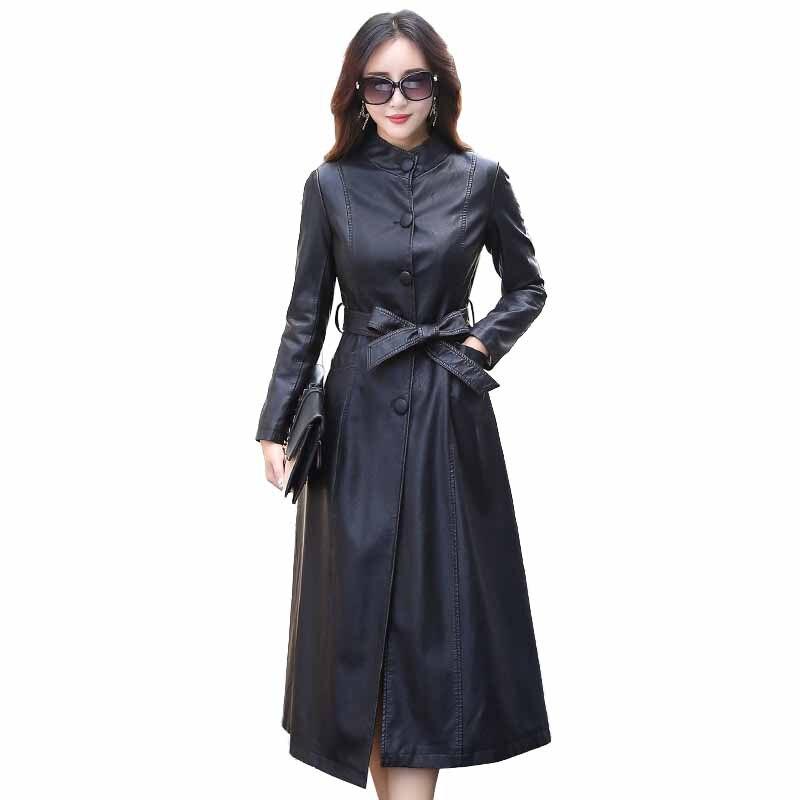 Fashion X-Long Single Breasted Autumn Female   Leather   Jacket Winter Plus Size Faux   Leather   Coat Women Belt Trench Coat 5XL A2879
