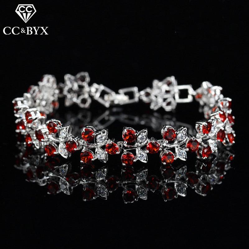 CC Bracelets For Women Luxury High Quality Leaf Design CZ Double Row Bangle Wedding Accessories Bridal Engagement Jewelry S0065