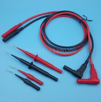 Silicone Insulation Banana Right Angle To Straight Plug Test Leads 2Pairs Multimeter Test Probe