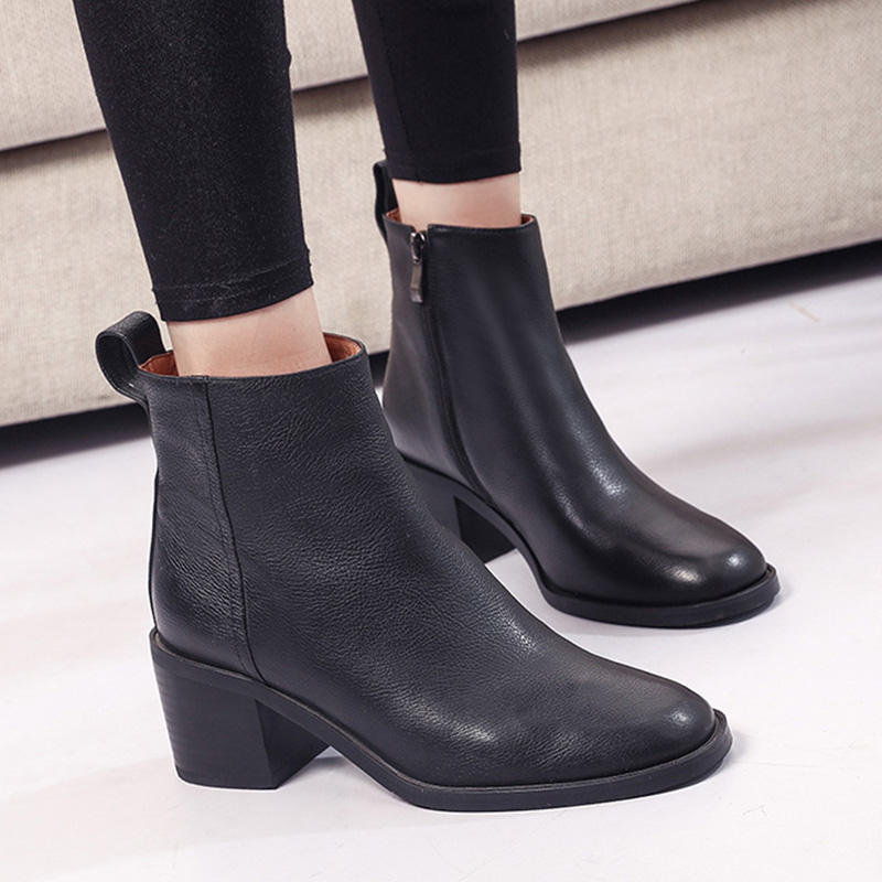 a9d599a3f0d3 Moxxy Woman Shoes New Arrival Ankle Boots Black Flats Back Zip Martin Boots  Leather Chelsea Booties Ladies Shoes Autumn Sexy