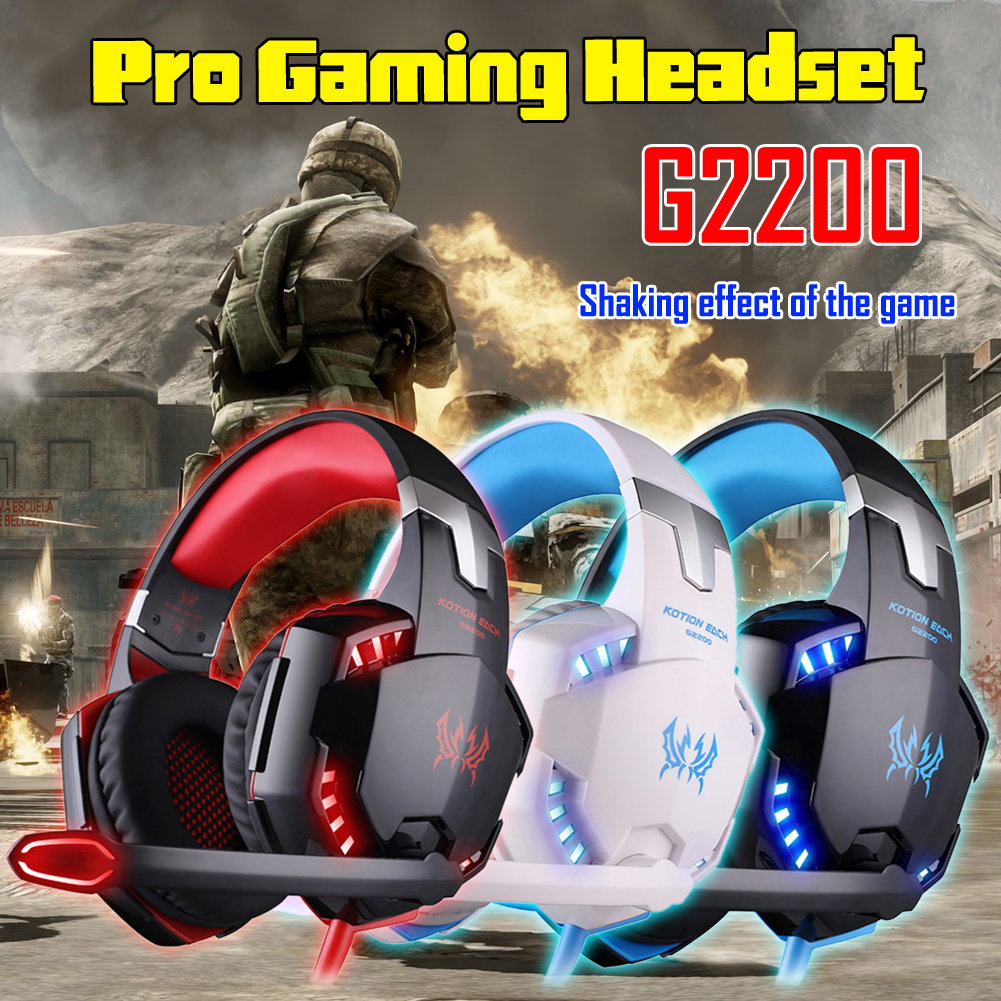 KOTION EACH 3.5mm Earphone Gaming Headset G2200 Pro Gaming Headphone Online Game LED Headset Surround Sound Feel+Mic