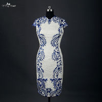 RSW753 Cheap High Quality Embroideried Venice Lace White And Royal Blue Mini Short Wedding Dresses