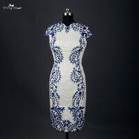 Rsw753 Низкая цена, высокое качество Embroideried Венеция Кружево белый и Королевский Синий Мини Короткие Свадебные платья