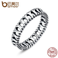BAMOER 100 Authentic 925 Sterling Silver Animals Dog Doggy Bone Finger Rings For Women Sterling Silver