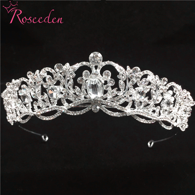 Sparkly shinning Wedding Tiaras crowns matching Crystal Quinceanera pageant Crown women hair jewelry RE752
