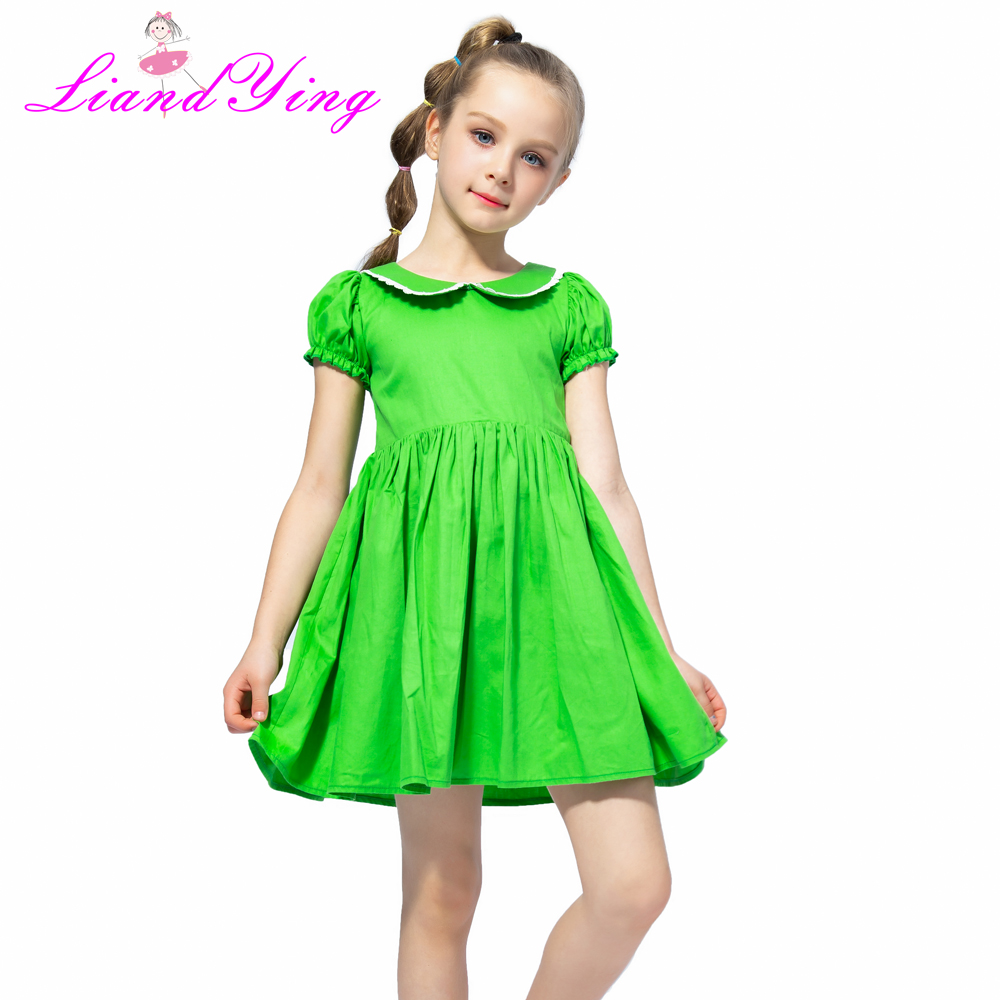 Flower Girl Dress Vintage Cotton Green Color Dress 2018 Summer Princess Wedding Party Dresses Children Clothes Size 2-12Y