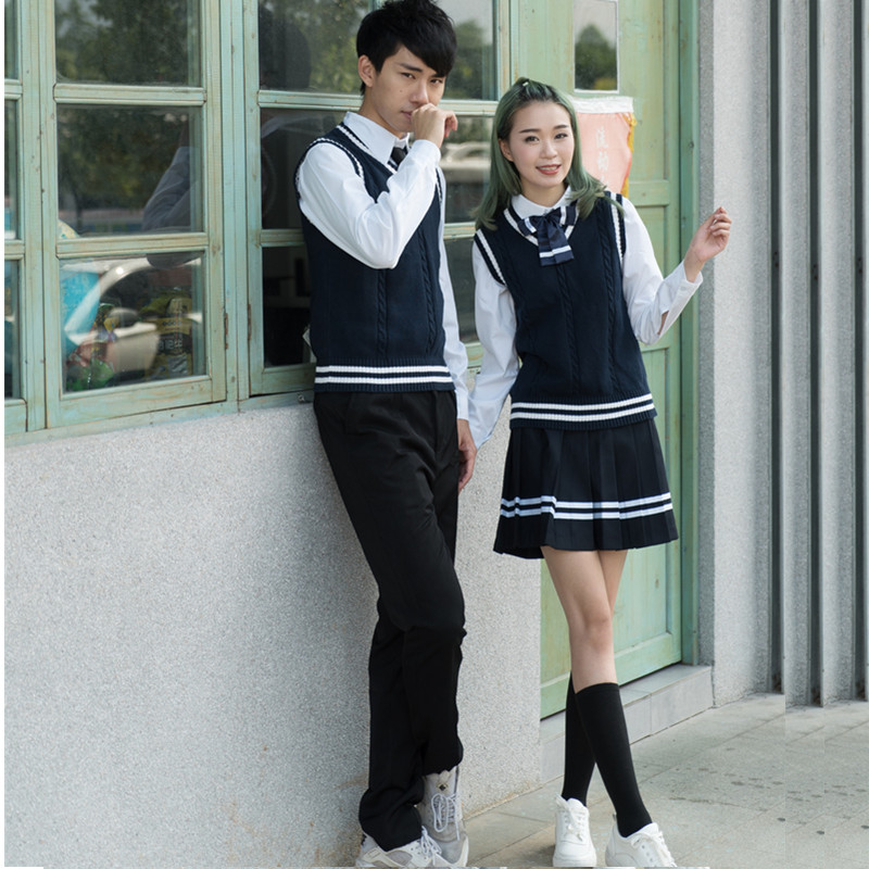 Class uniform school uniform suit college style boys and girls high school students jk Japanese sailor suit pleated skirt in School Uniforms from Novelty Special Use