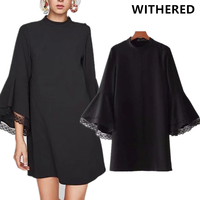 Withered winter dress vestidos england style flare sleeve Lace splicing vintage fashion simple black sexy party dress plus size