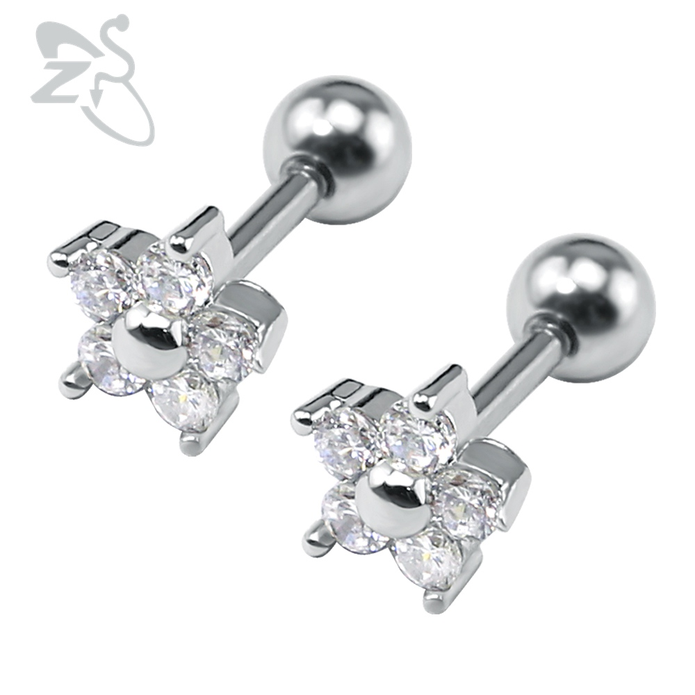 Pure Crystal Flower Design Ear Studs Cubic Zirconia Ear Rings Stud  Piercings Earrings Jewelry For Women
