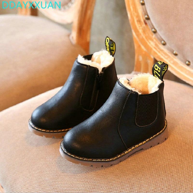 New Fashion Children Boots Warm Winter Children PU Shoes Boys Girls Winter England Retro Martin Boots Kids Solid Boots 21-36