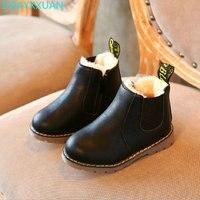 New Fashion Children Boots Warm Winter Children PU Shoes Boys Girls Winter England Retro Martin Boots