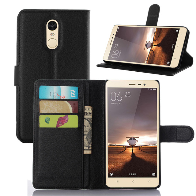 714846aa92 Note3 Case Luxury Lychee Print PU Leather Case For Xiaomi Redmi Note 3 Flip  Stand Wallet Phone Shell Back Cover With Card Holder