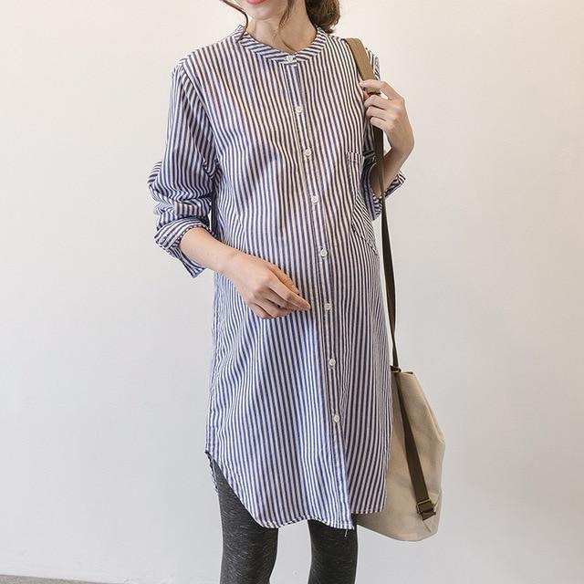 7843bb6295d4a الربيع الخريف اللباس الكورية شريطية الملابس الأمومة اللباس الحوامل امرأة  تنورة طويلة الأكمام قميص ملابس الحمل