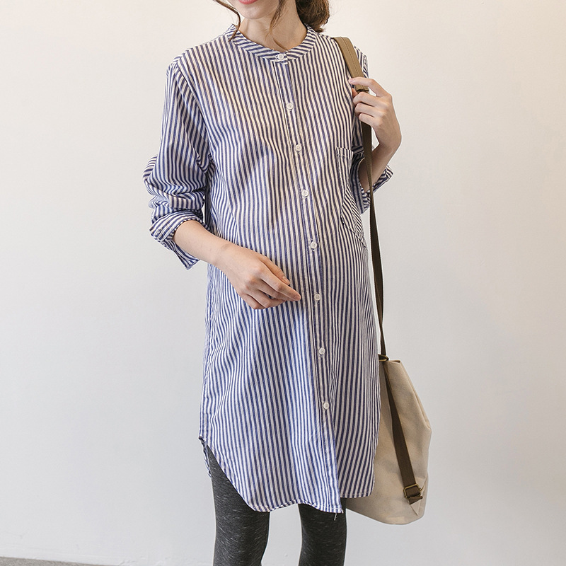Spring Autumn Dress Korean Stripe Clothing Maternity Dress For Pregnant Woman Skirt Long Sleeve Shirt Pregnancy Clothes