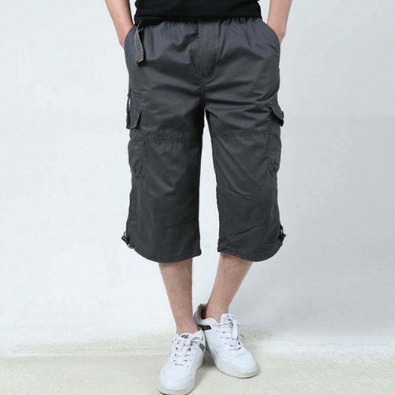 New Summer 2018 Mens Army Cargo 3/4 Three Quarter Shorts Cotton Multi Pockets Military Tactical Camo Casual Men Jogger Short