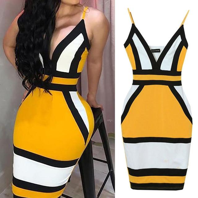 Strip Camis Dress Women Sexy Geometric Figure Yellow Strap Bodycon Casual Deep V Neck Boho Resort High Waist Club Party Dress 3