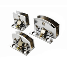 4PCS Chrome Zinc Alloy 90 Degree Side Mount Glass Door Hinge Cupboard Cabinet Clamp No Drilling JF1329