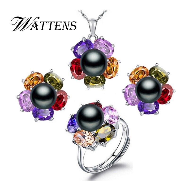 WATTENS Jewelry-Sets Pearl Gift-Box Wedding-Suit 925-Sterling-Silver Fashion Retro Women
