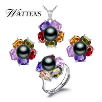 WATTENS moda retrò perla Set di Gioielli per le donne, 925 sterling silver Wedding Suit set di gioielli Fiori Geometria set, contenitore di regalo