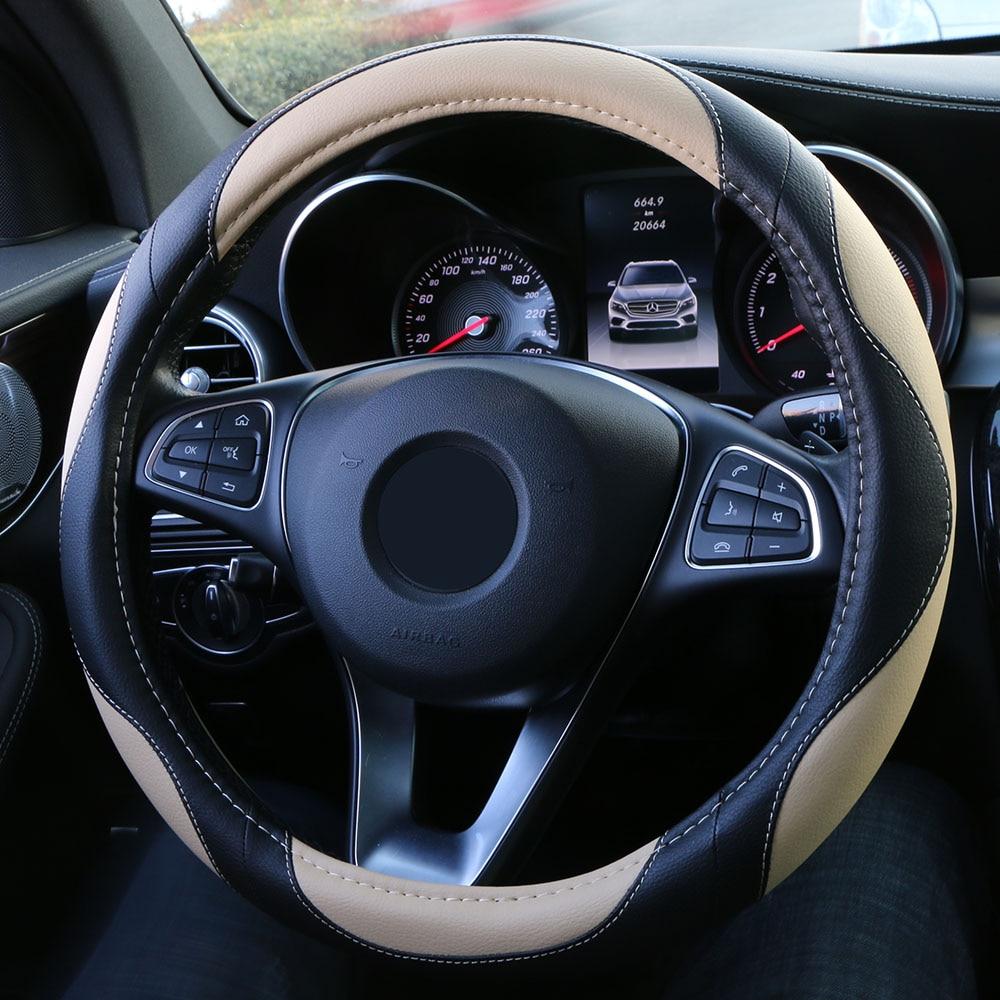 Универсальный чехол рулевого колеса автомобиля спортивный стиль искусственная кожа оплетка для руля Противоскользящий авто чехол для рул...