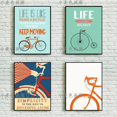 Wall art bicycle bike vintage pop poster a4 wall art decor canvas painting