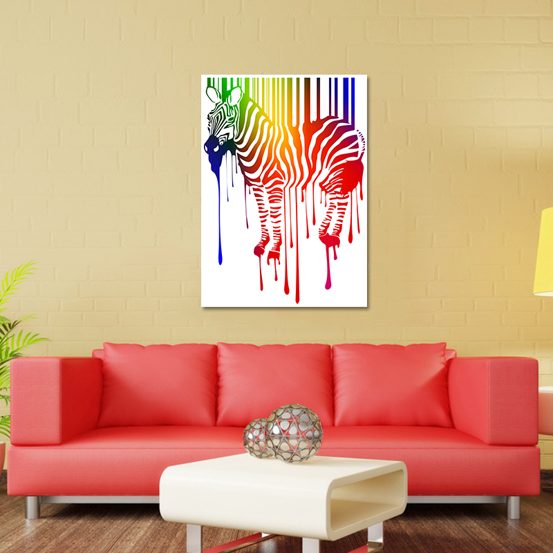 Modern Bling Colorful Rainbow Zebra Decoration Posters Wall Art ...