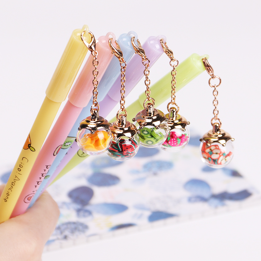 5PCS Colorful Wish Ball Gel Pen Cute Pendant Diamonds and Starfish Roller Ball Pens Stationery Office School Supplies 6 pcs set color gel pen starry pattern cute kitty hero roller ball pens stationery office school supplies