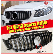 For Mercedes W213 GTS Style Sports grille ABS Silver With camera E300 E350 E400 E450 E500 E53 look grills Without Sign 2016-2018
