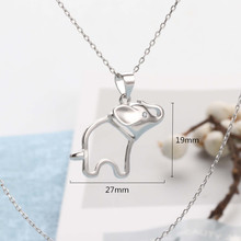 925 Silver Zircon Jewelry Necklaces Lovely Vivid Elephant with Small Shiny Simple Necklace for Women Fashion