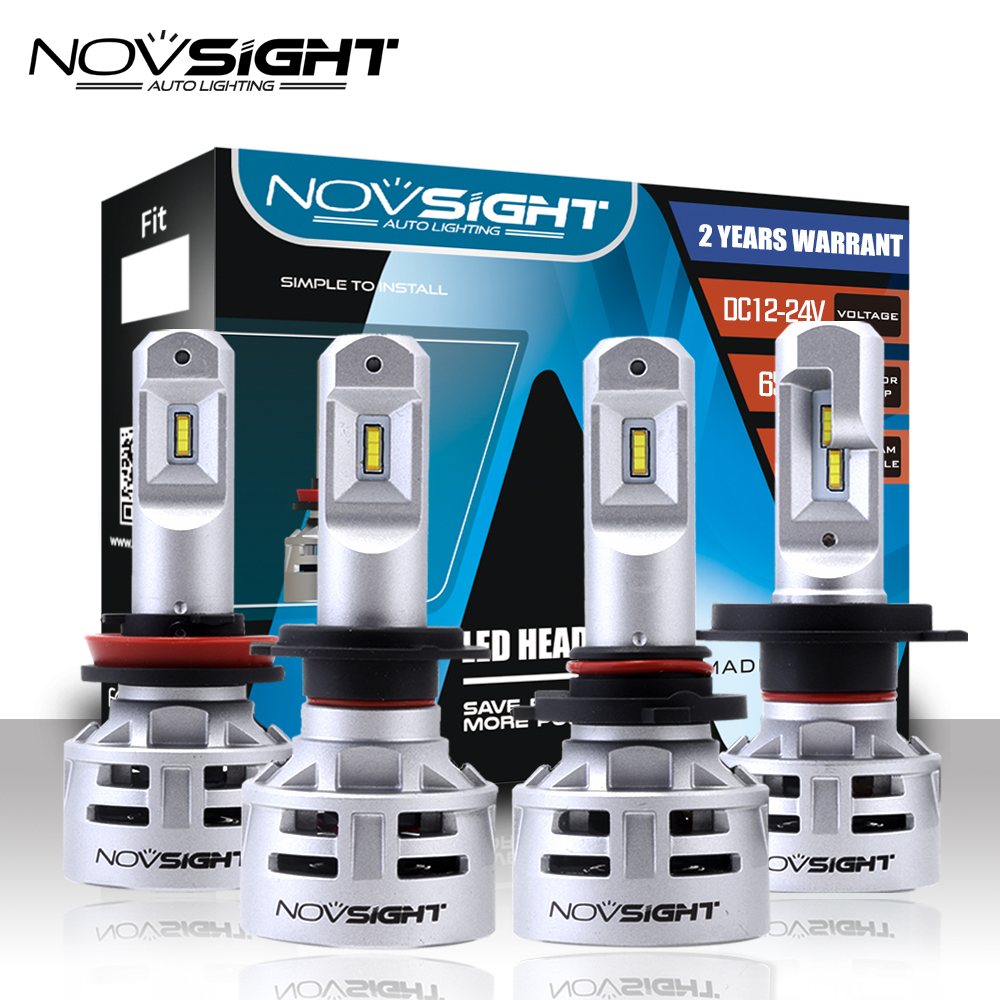 NOVSIGHT H4 H7 Led H11 H8 Car LED Headlight Bulbs 9005 HB3 9006 HB4 60W 10000LM Automobile Headlamp Fog Lights 6500K White h7 3 5w 68 smd led 6500k 310 lumen white fog lights for car pair