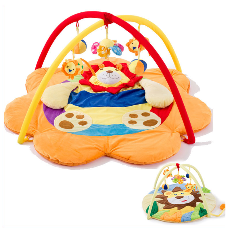 Body Building Gym Mat Music Toys Bundle Rack Play Mat Baby Gym Activity Playmat Game Blanket Lion Newborn Baby Crawl Mat