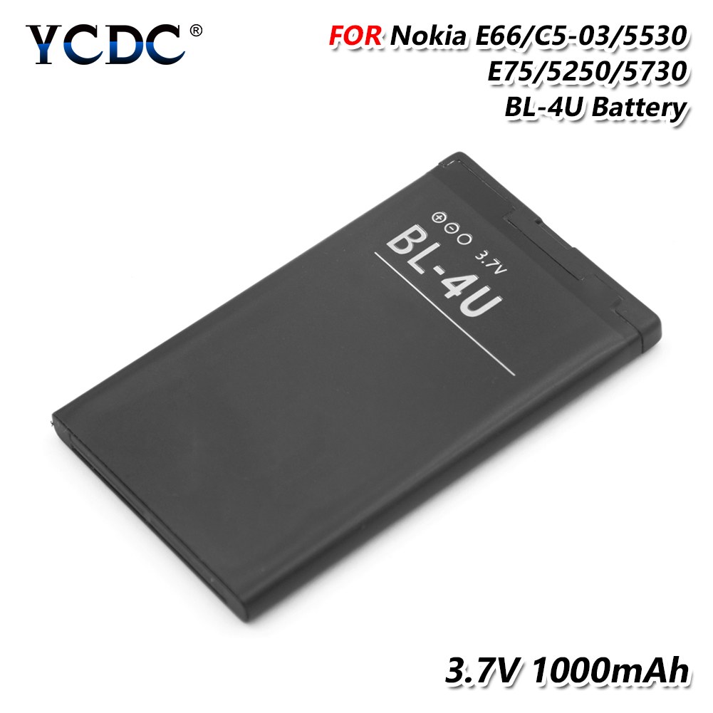 2019 New 100% 1000mAh BL-4U BL4U Battery For Nokia Asha 210 300 305 306 308 309 311 501 503 Replacement Li-ion Lithium Battery(China)