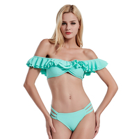 Bikini Swimsuit 2017 New Ruffle Vintage Bikinis Women Swimwear Bandeau Solid Top And Bottom Bathing Suits