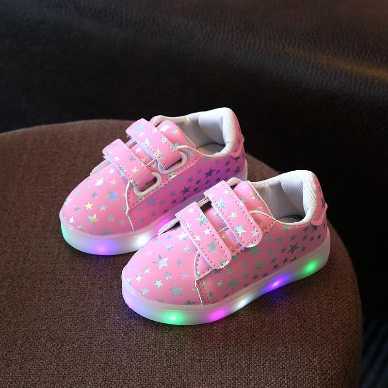 81b946c4f Новинка весны Led для мальчиков и девочек Син Украшенные Нескользящая повседневная  обувь яркие блестящие детская обувь eur 21- 36 #1
