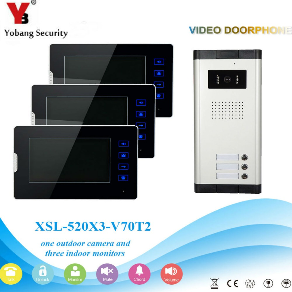 "YobangSecurity 1-Camera 3-Monitor 7"" Video Door Phone Video Intercom Home Doorbell System Night Vision 2-way Access Control"