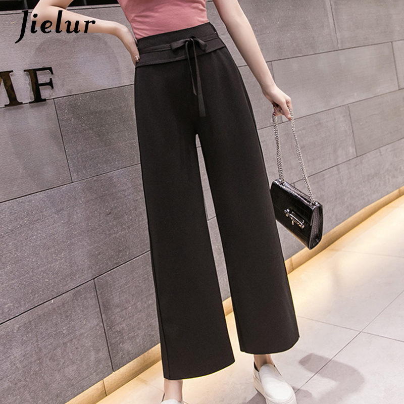 Jielur Summer Chic Korean   Wide     Leg     Pants   Women Loose Thin Pure Color Pantalon Femme Harajuku Elegant Lady   Pants   Trousers Female