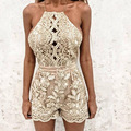 2017 new fashion women sexy summer gold lace bodycon hollow out backless overalls jumpsuit playsuits combinaison femme