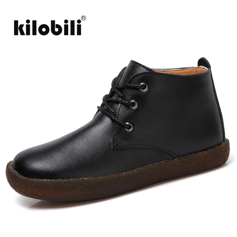 kilobili WOMEN ANKLE BOOTS SHOES Genuine Leather Lace up Vintage Boots Flats Shoes Women Plush Hand
